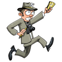 Cartoon drawing of a running journalist, waving a pad and pencil and carrying a camera round his neck